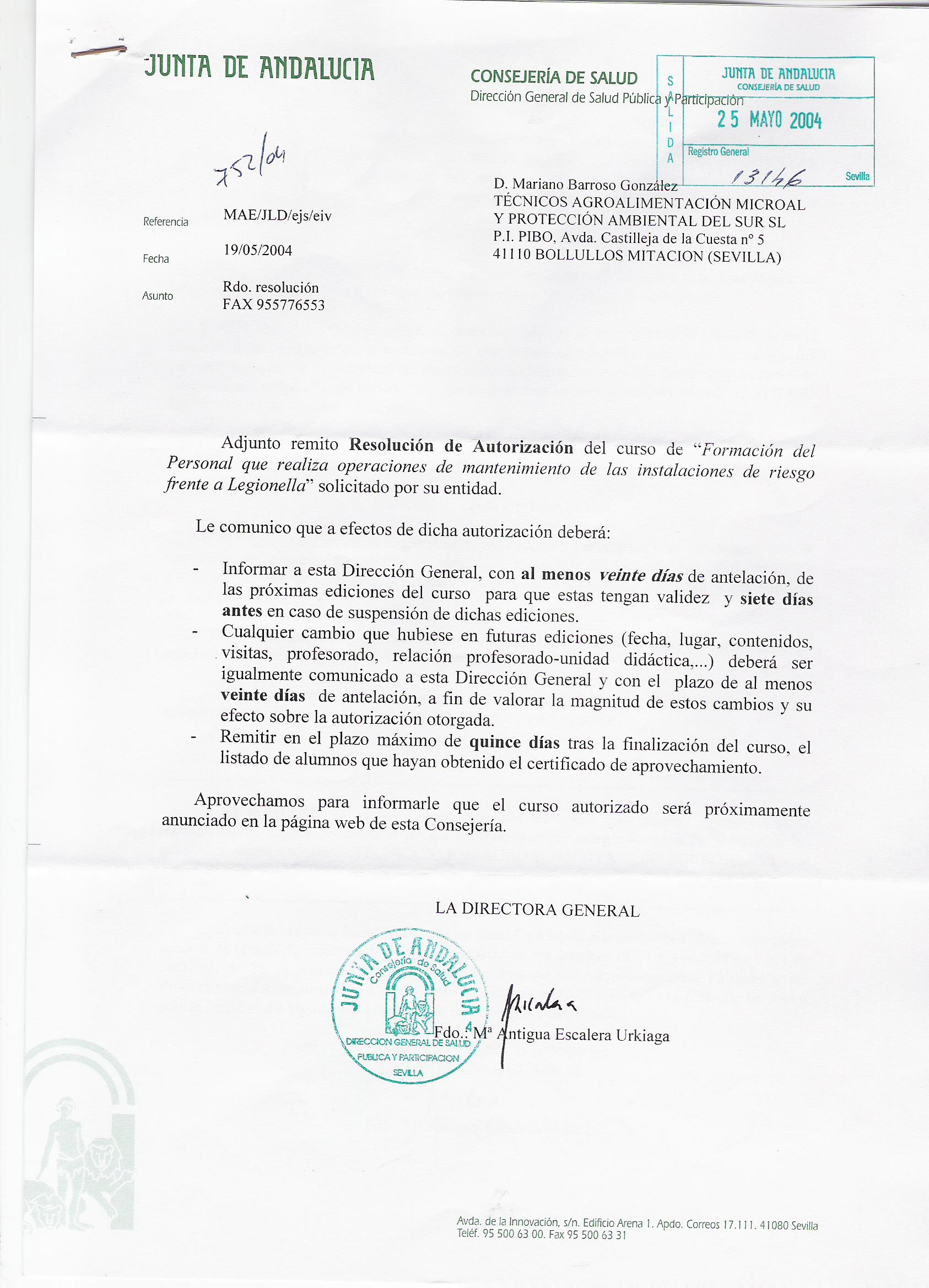 Acreditaciones microal for Oficina junta de andalucia